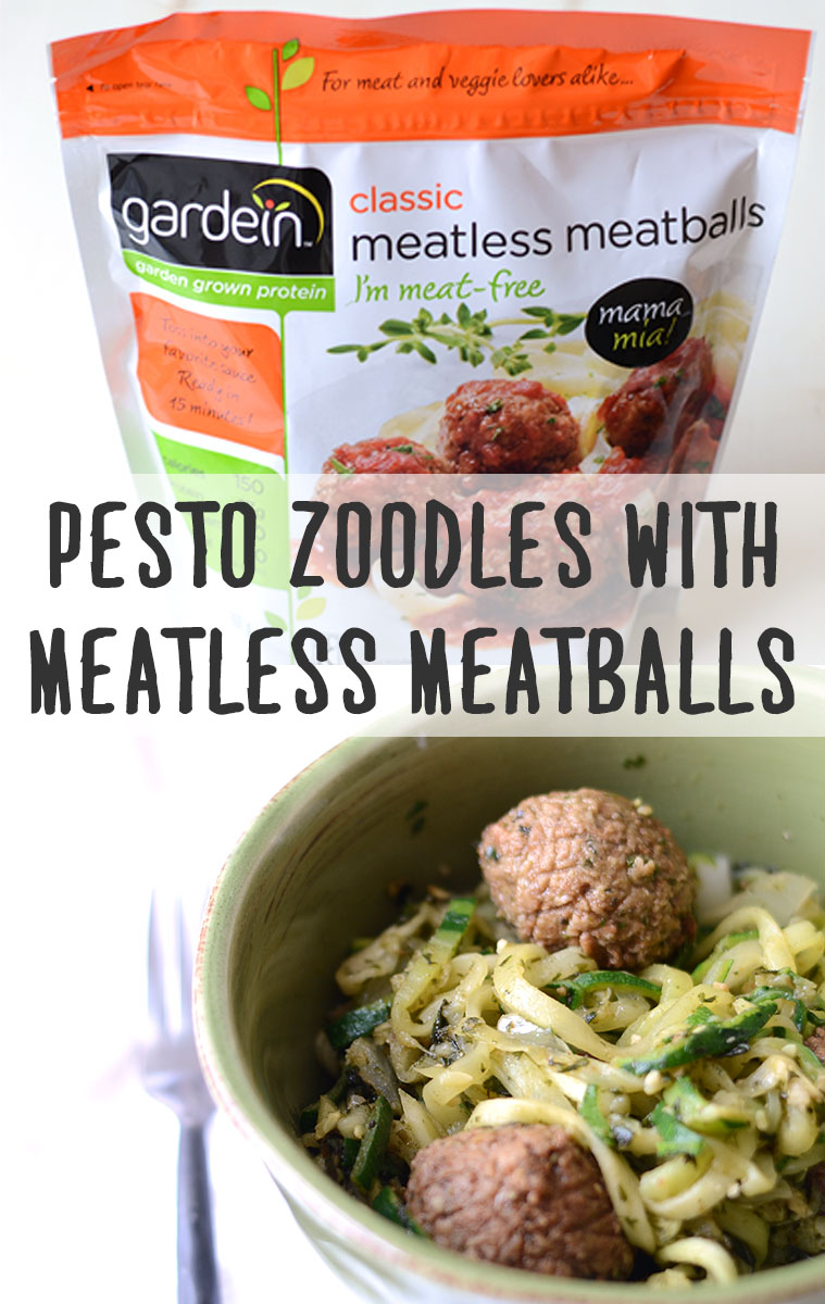 Pesto Zoodles With Meatless Meatballs