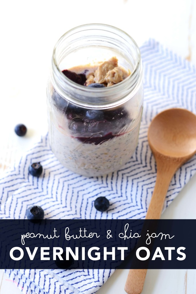 Overnight Oats are the perfect breakfast to make ahead and eat on the run. These Peanut Butter and Chia Jam Overnight Oats are packed with the superfood, chia, but taste like your favorite old school PB & J. // init4thelongrun.com