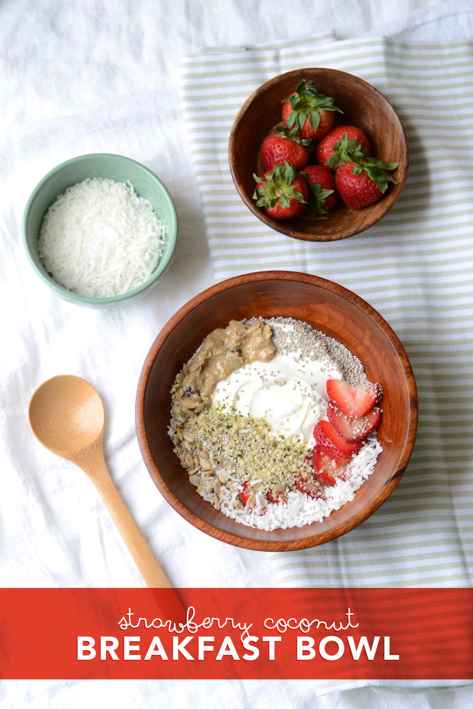 Coconut Strawberry Breakfast Bowl: Take your next breakfast to a whole new level, by adding a touch of coconut to your yogurt and topping it with super seeds like chia, hemp and sunflower.