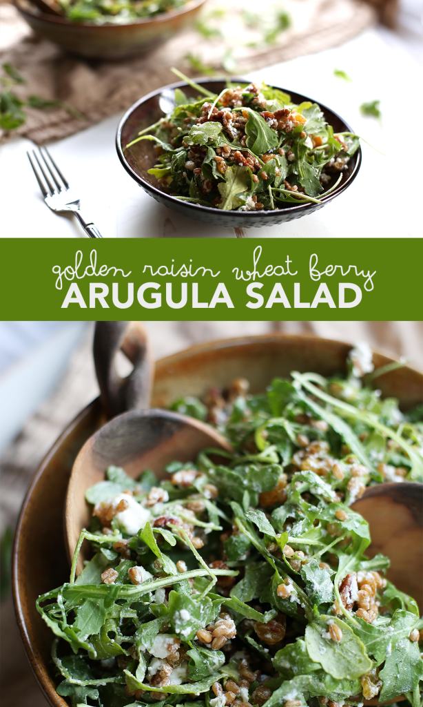 Golden Raisin Wheat Berry Arugula Salad