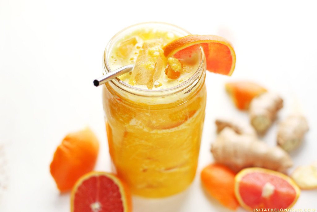 Brighten your morning with this easy to make, nutrient packed, orange ginger turmeric sunshine juice.