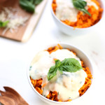 Sweet Potato Noodles with Basil Cheese Sauce