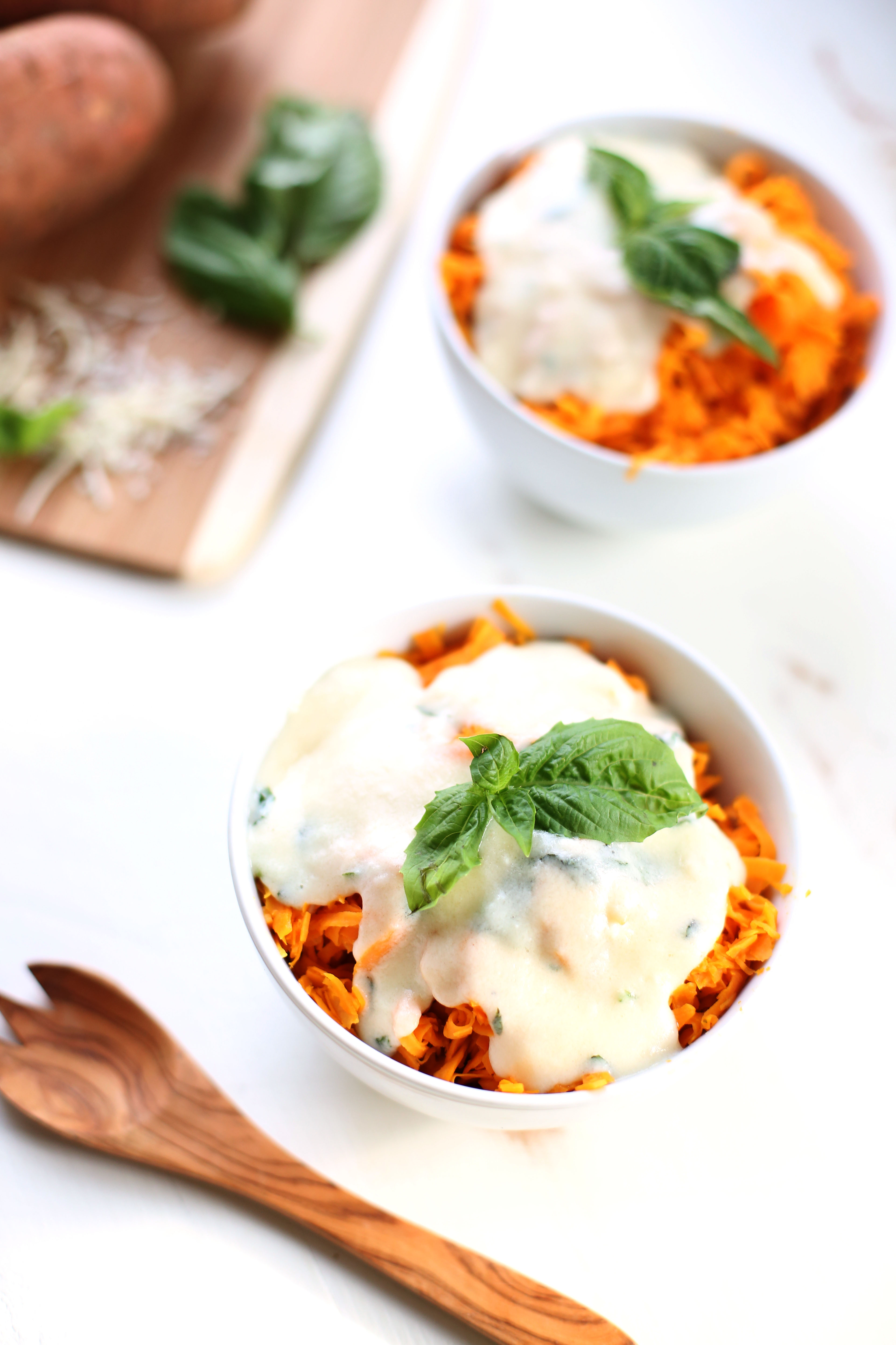 These Sweet Potato Noodles with Basil Cheese Sauce are an adult twist on a childhood favorite: mac & cheese.