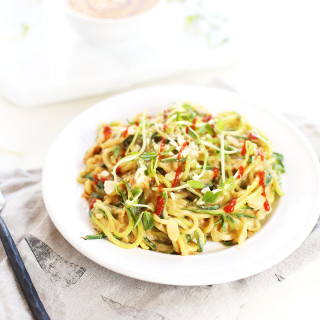 Zoodles with Spicy Sesame Almond Butter Sauce