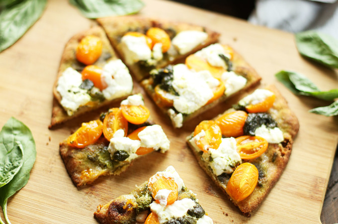 Pesto and Ricotta Naan Pizza